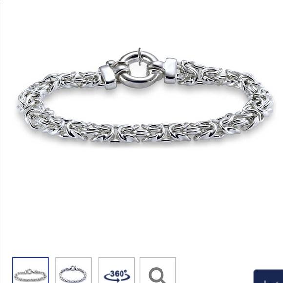 "Blue Nile Jewelry - 7.5"" 9.25 Sterling Silver Braid Chain bracelet"
